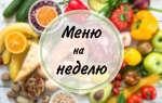 Меню правильного питания на неделю (Вариант №1)